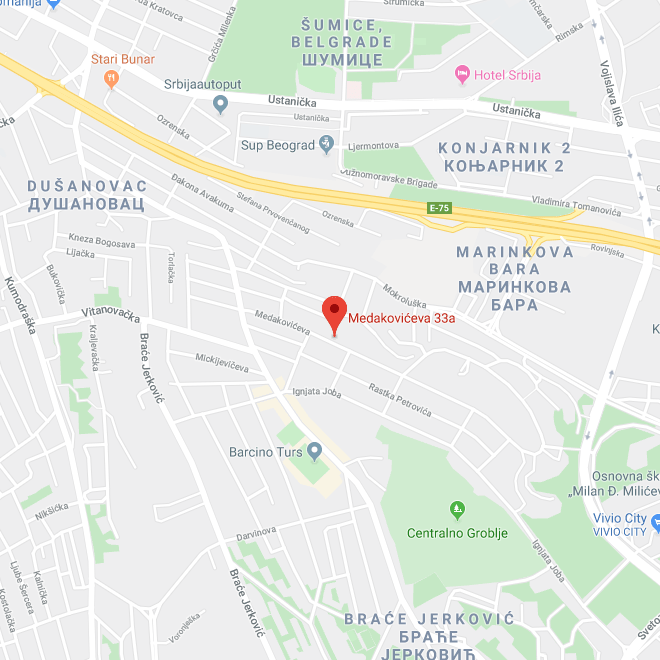 Map of Head Office Medakovićeva Street 33a Belgrade